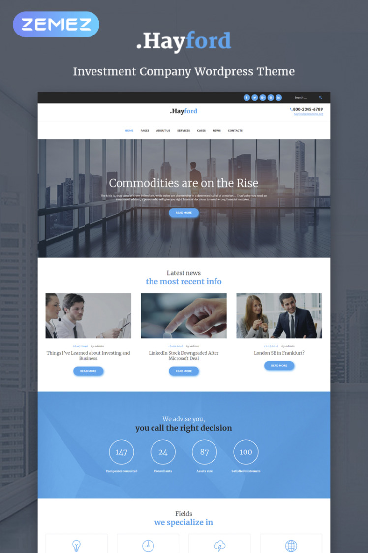 Hayford Investment Consulting Services Responsive WordPress Themes