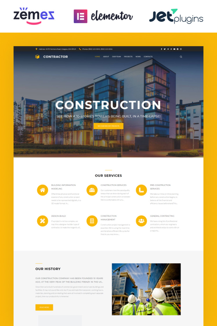 Contractor Architecture Construction Company Elementor WordPress Themes