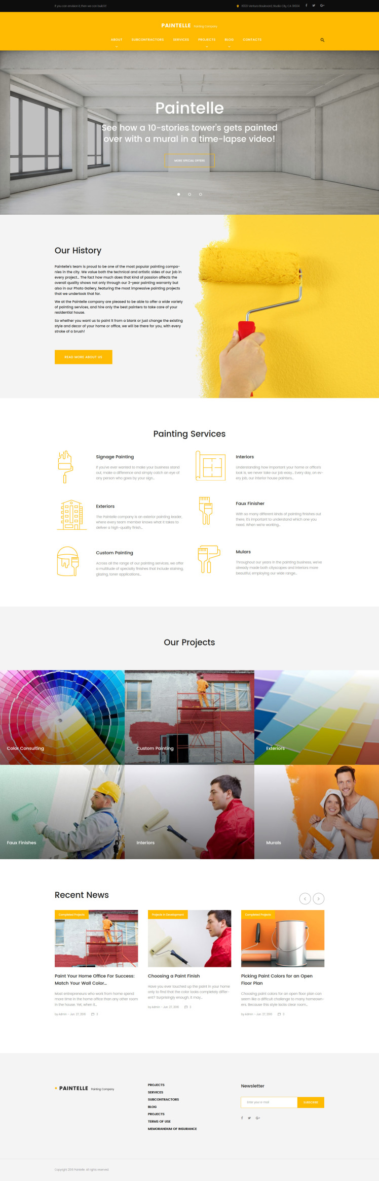 Paintelle Painting Company WordPress Themes