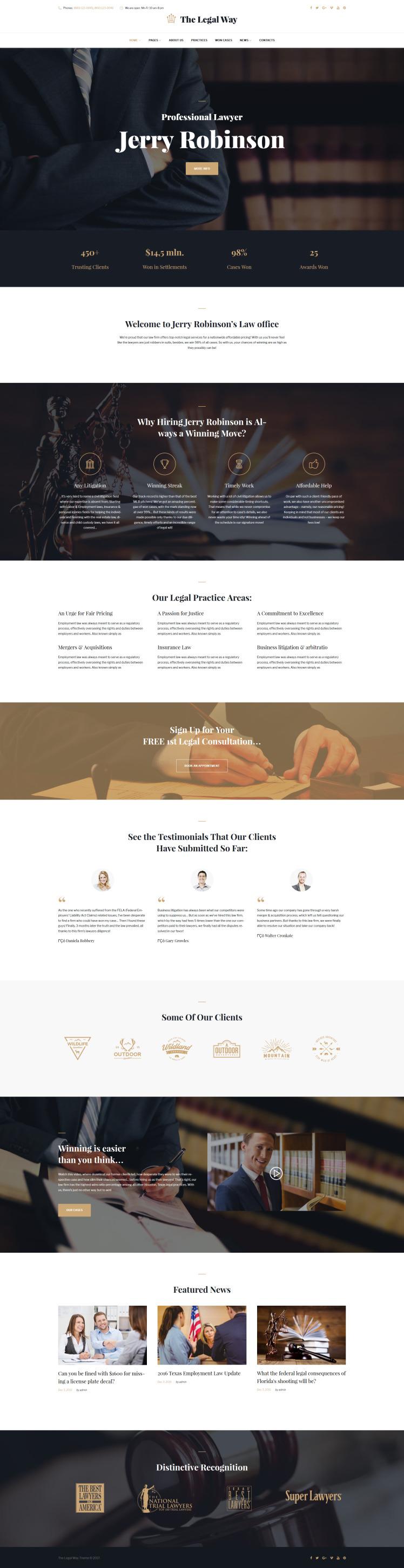 The Legal Way Lawyer Attorney WordPress Theme