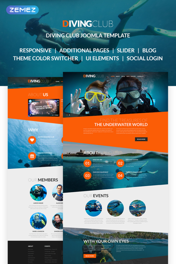 Diving Club Sports Outdoors Diving Responsive Joomla Templates