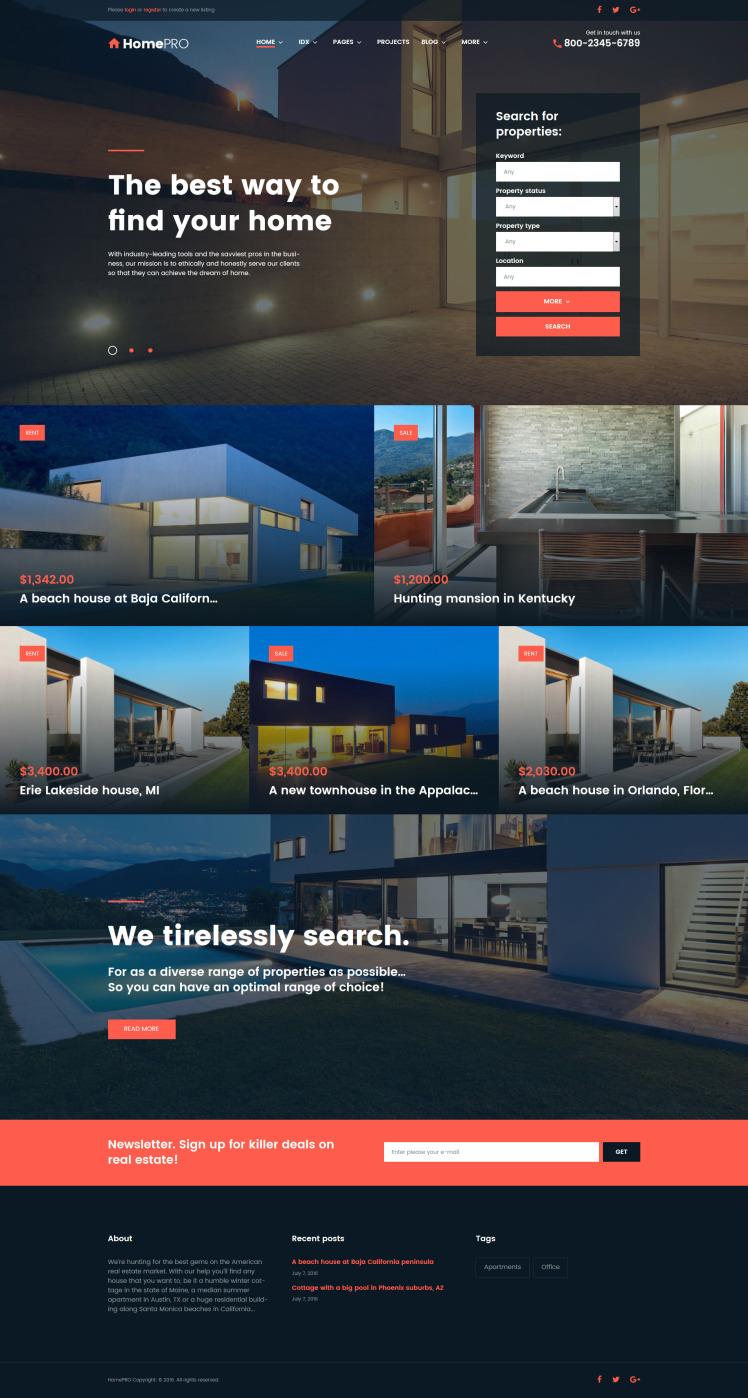 HomePro Real Estate Portal WordPress Themes