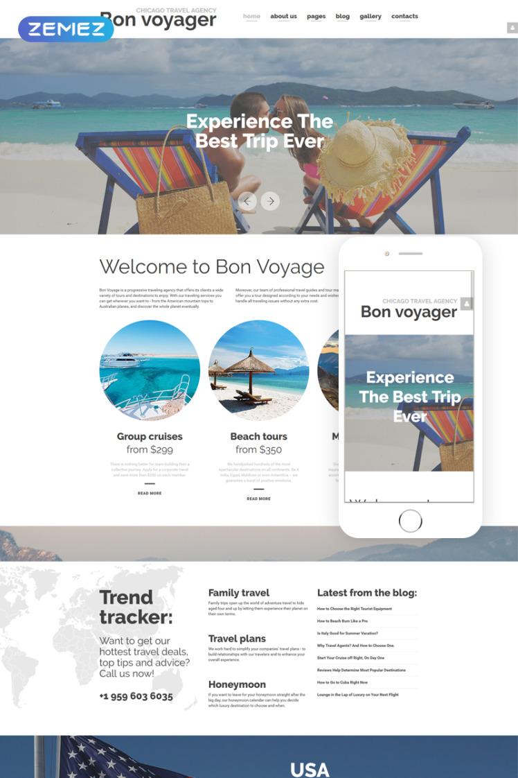 Bon Voyage Travel Agency Vacation planning Responsive Joomla Templates