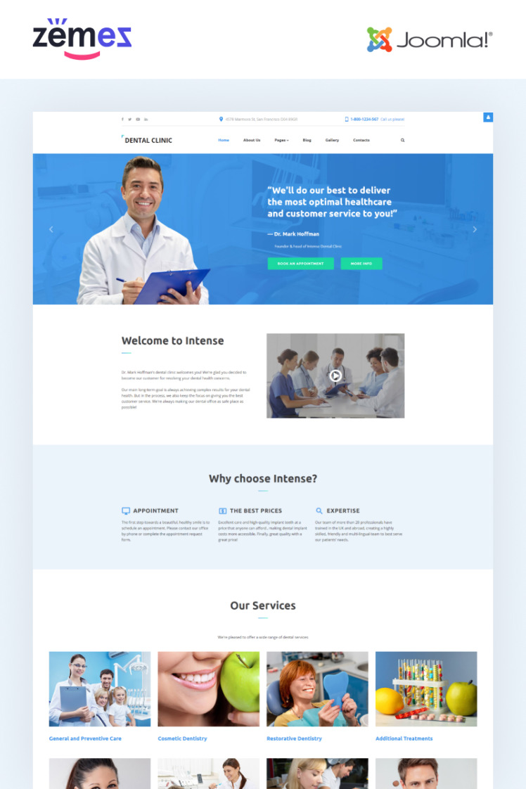 Dental Clinic Dentistry Responsive Joomla Templates