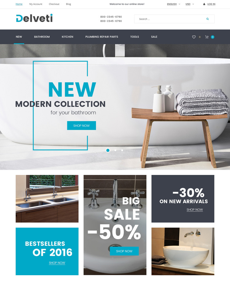 Delveti Plumbing Supplies Magento Themes