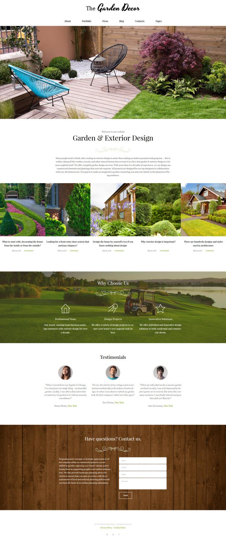 Garden Decor And Exterior Design Responsive WordPress Themes