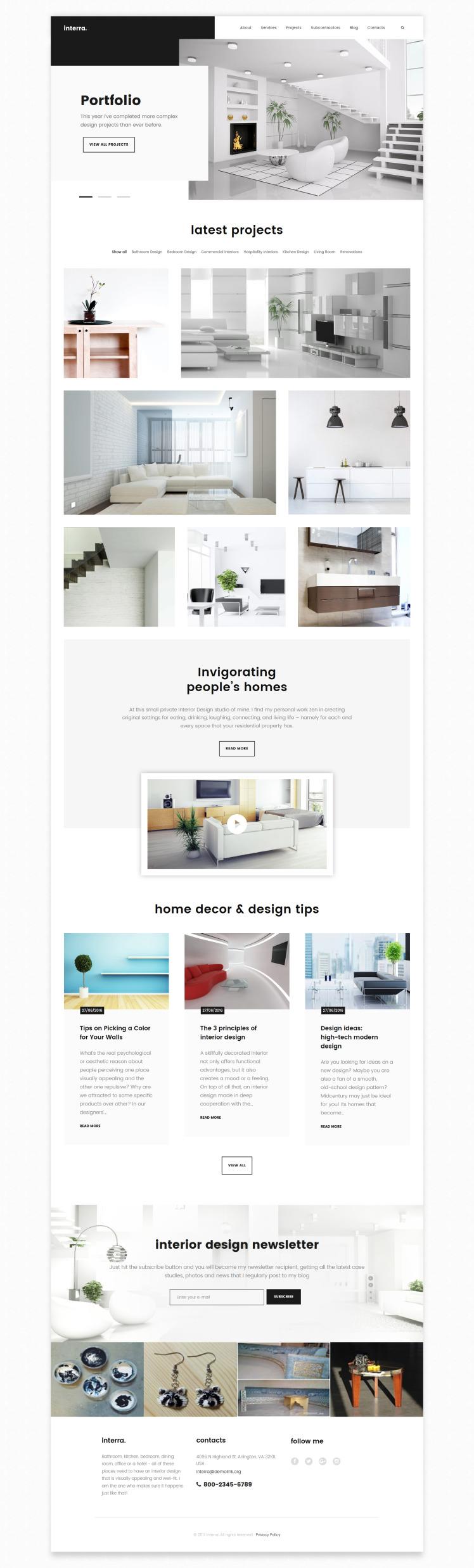 Interra Interior Designer Portfolio WordPress Theme