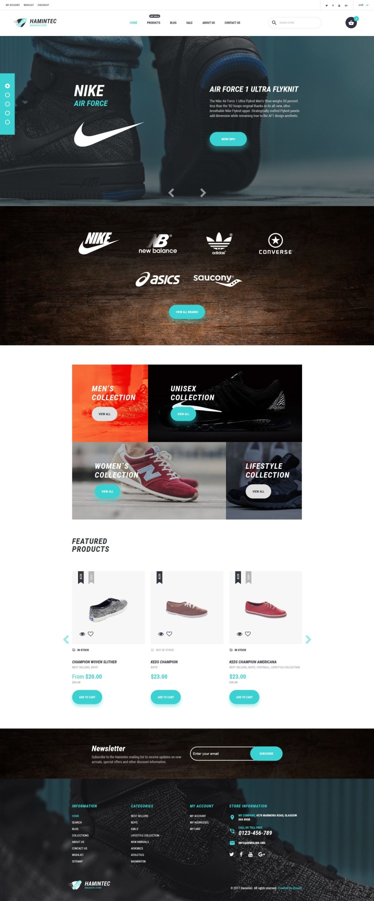 Hamintec Luxury Quality Sneakers Store Shopify Themes