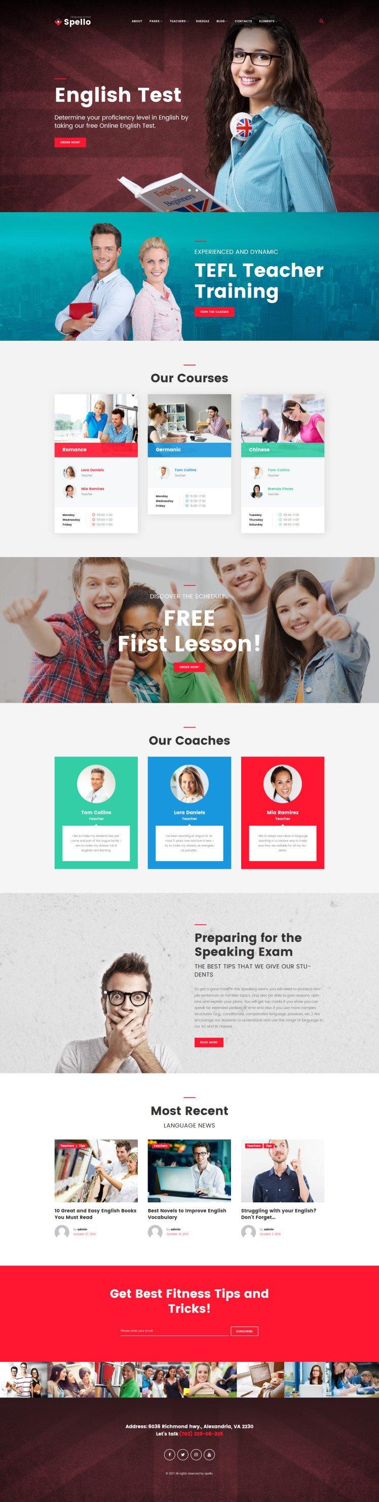 Spello Language School WordPress Theme