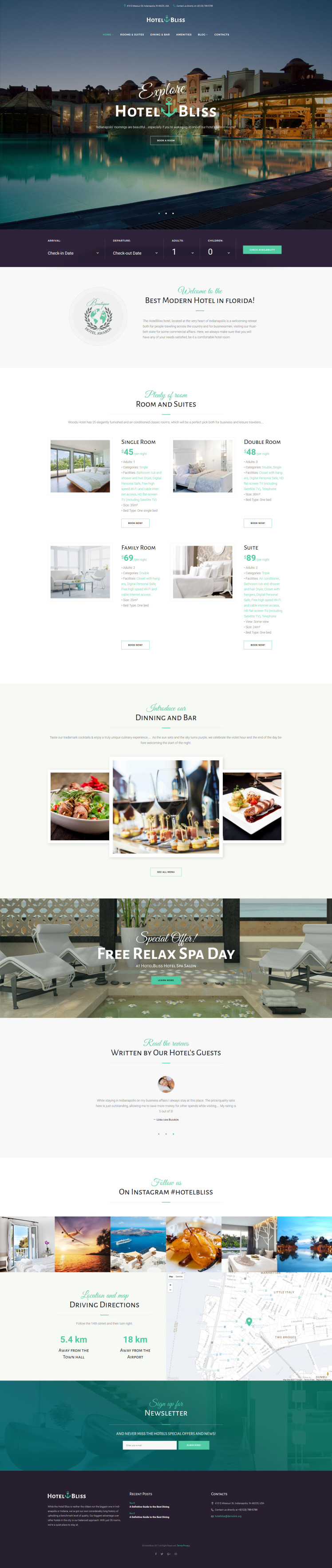 HotelBliss Spa Resort Hotel WordPress Theme