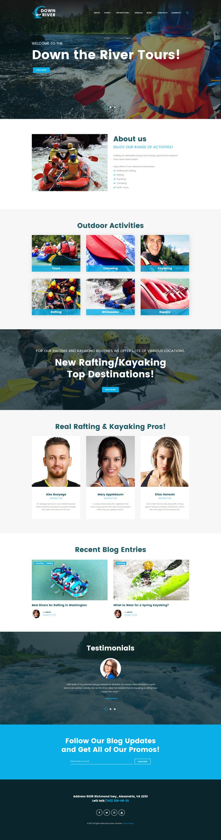 Down River Rafting Kayaking WordPress Theme