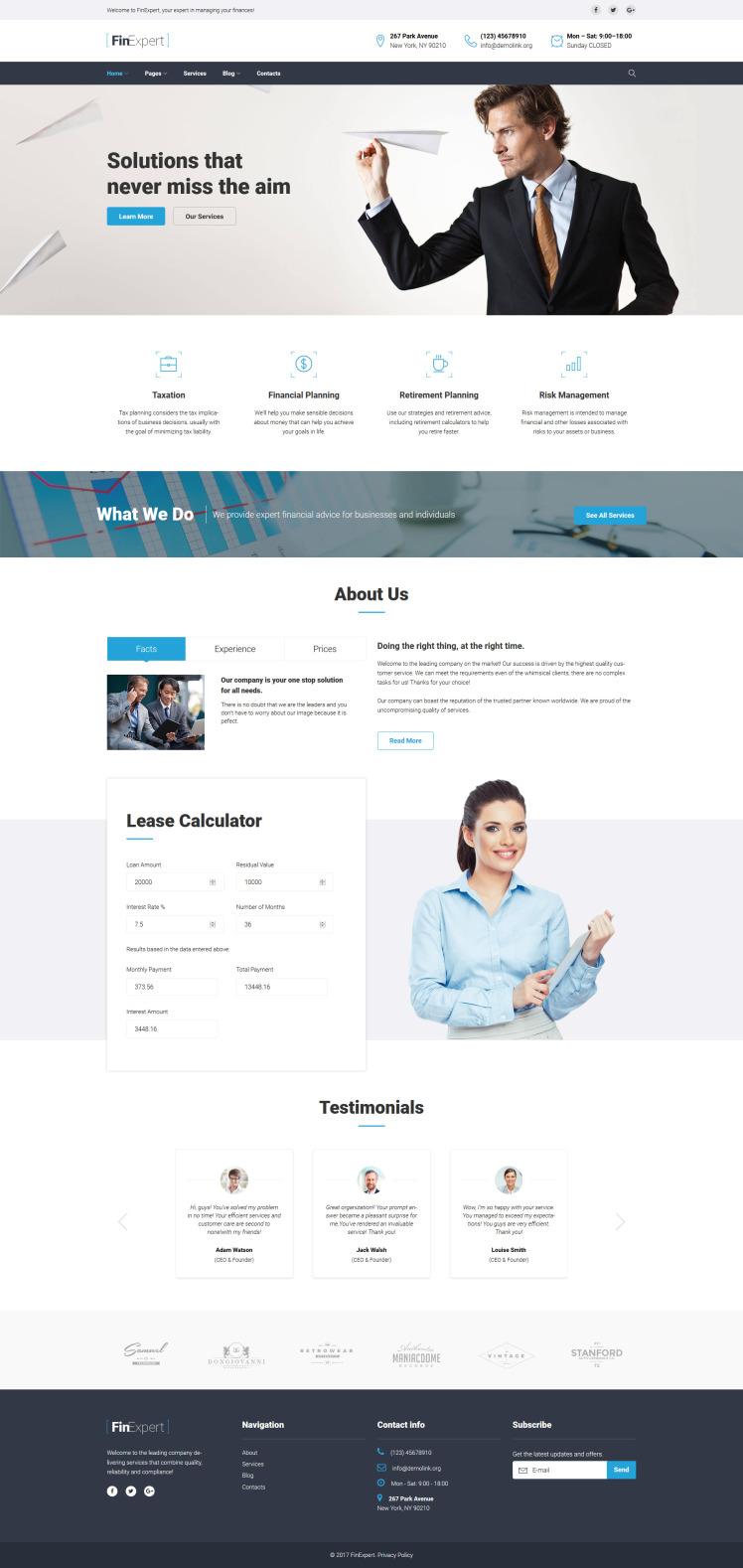 FinExpert Financial Advisory Company Responsive WordPress Themes