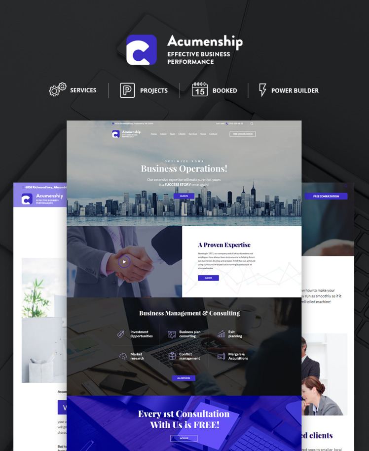 Acumenship Business Consulting Agency Responsive WordPress Theme