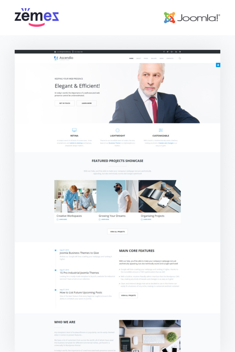 Ascendio Business and Services Multipage Joomla Templates
