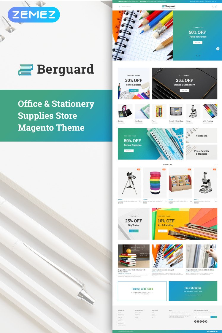 Berguard Office Stationery Supplies Magento Themes
