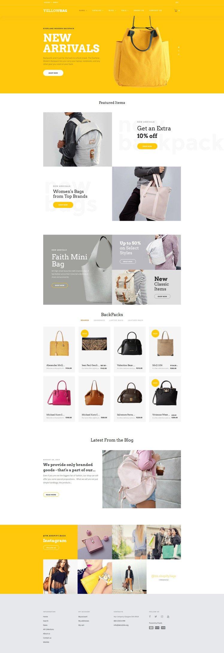 YellowBag Handbag Responsive Shopify Theme