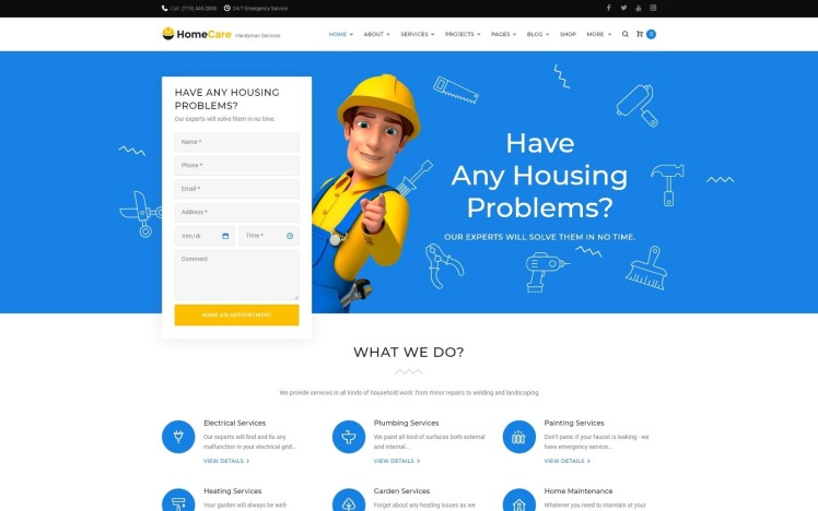 HomeCare Handyman Services Responsive WordPress Theme