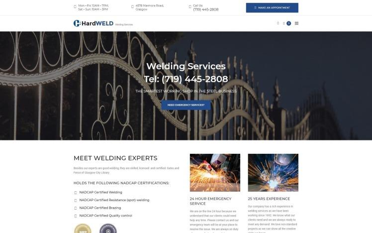 HardWeld Welding Service Responsive WordPress Theme