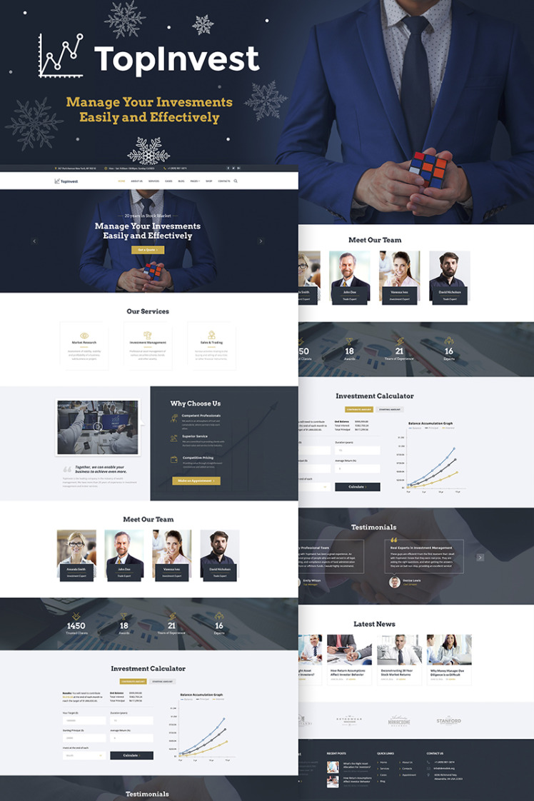 TopInvest Investment Company WordPress Theme