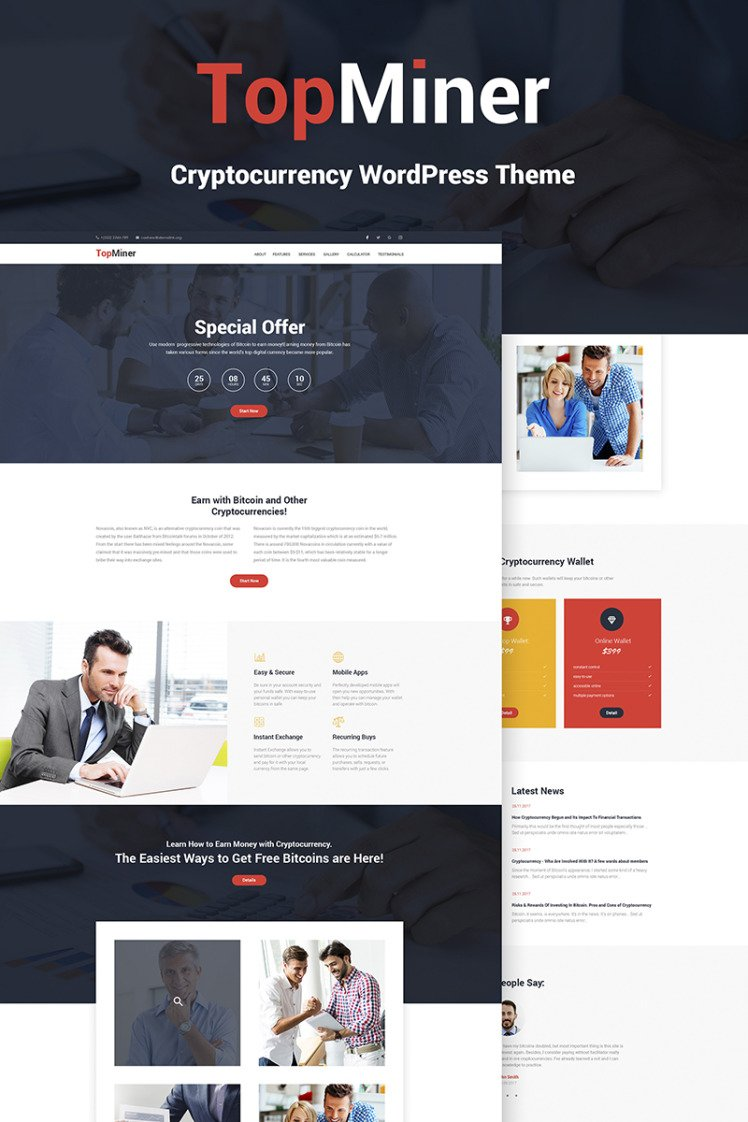 TopMiner Cryptocurrency WordPress Themes