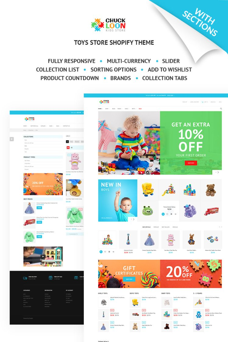Chuck Loon Responsive Toys Children Clothes Online Store Shopify Theme