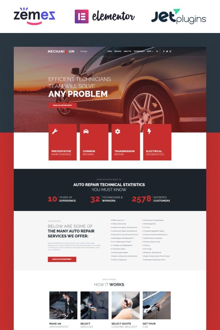 Mechanicum Car Repair WordPress Elementor Theme