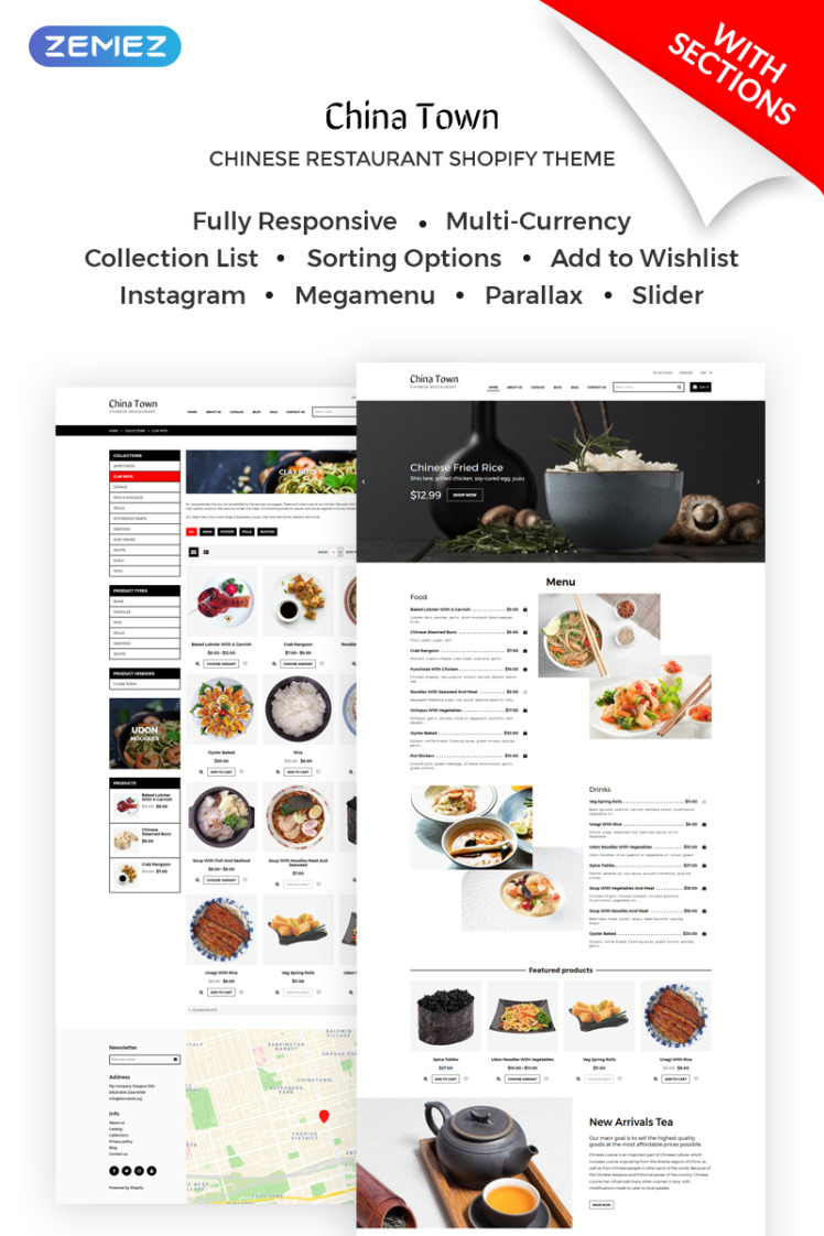 China Town Sushi Restaraunt Shopify Themes