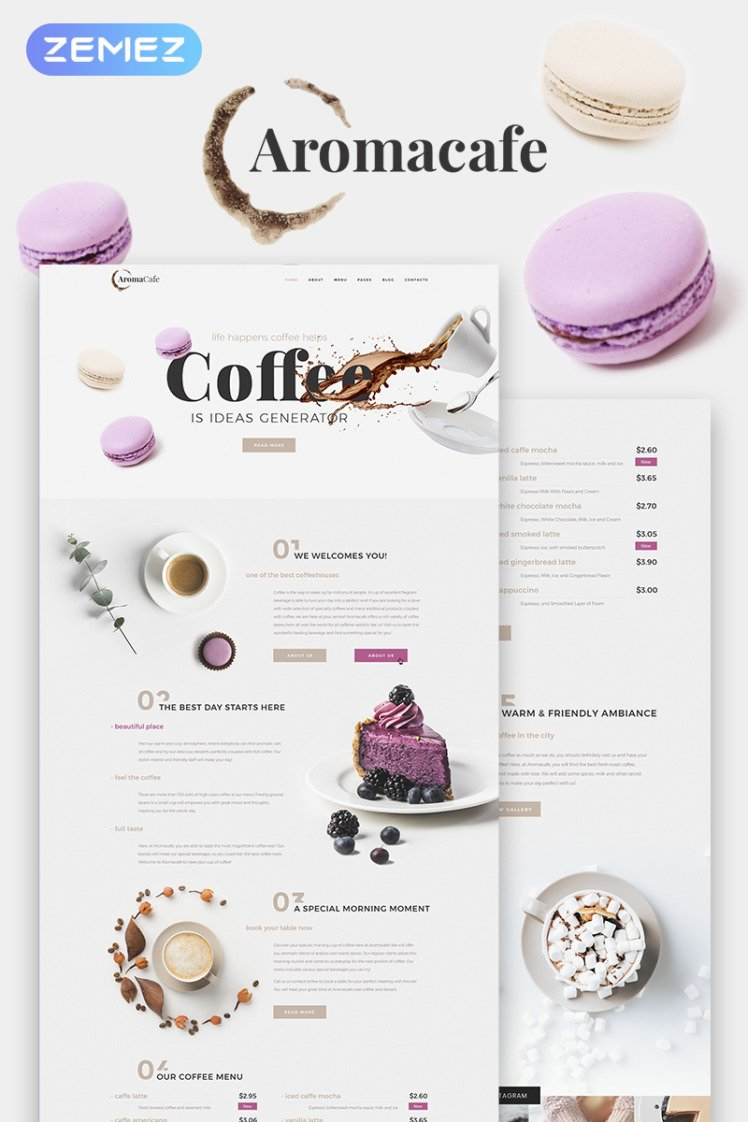 Aromacafe Coffee Shop Elementor WordPress Themes