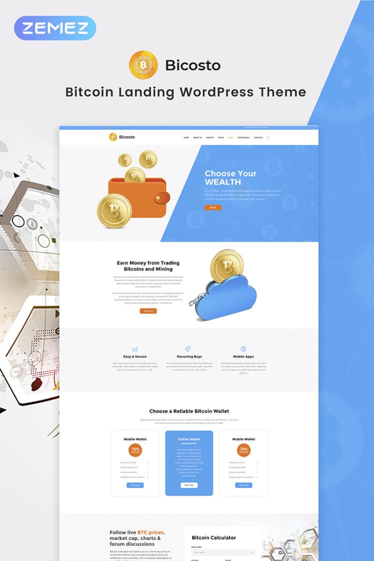 Bicosto Bitcoin Landing Elementor WordPress Theme