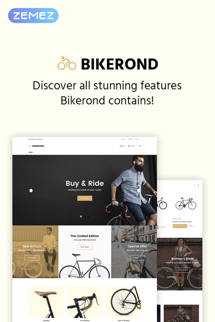 Bikerond Bike Shop Elementor WooCommerce Theme