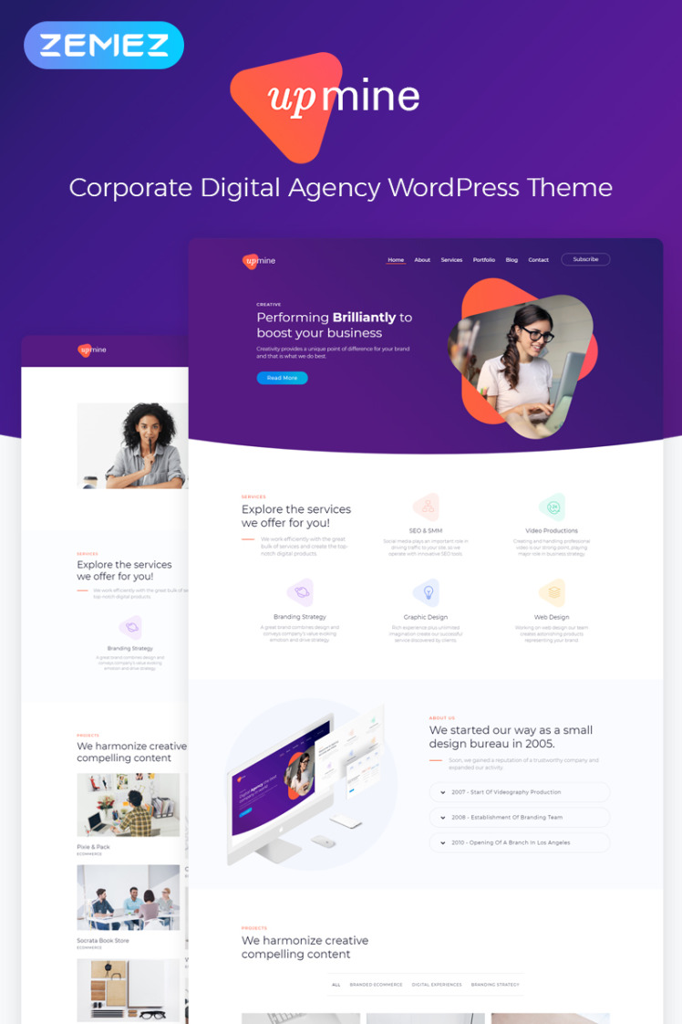 Upmine Corporate Digital Agency WordPress Elementor Theme