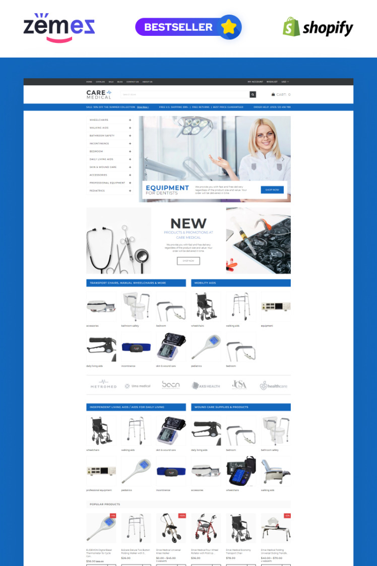 Care Medical Equipment Shopify Theme