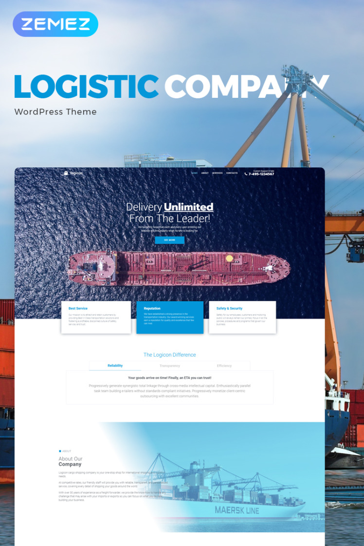 Logicon Transportation Services Responsive Elementor WordPress Theme