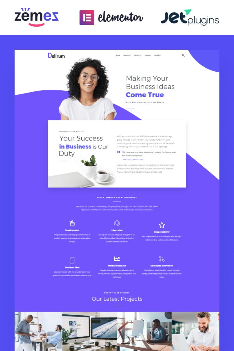 Delirum Corporate Landing WordPress Theme