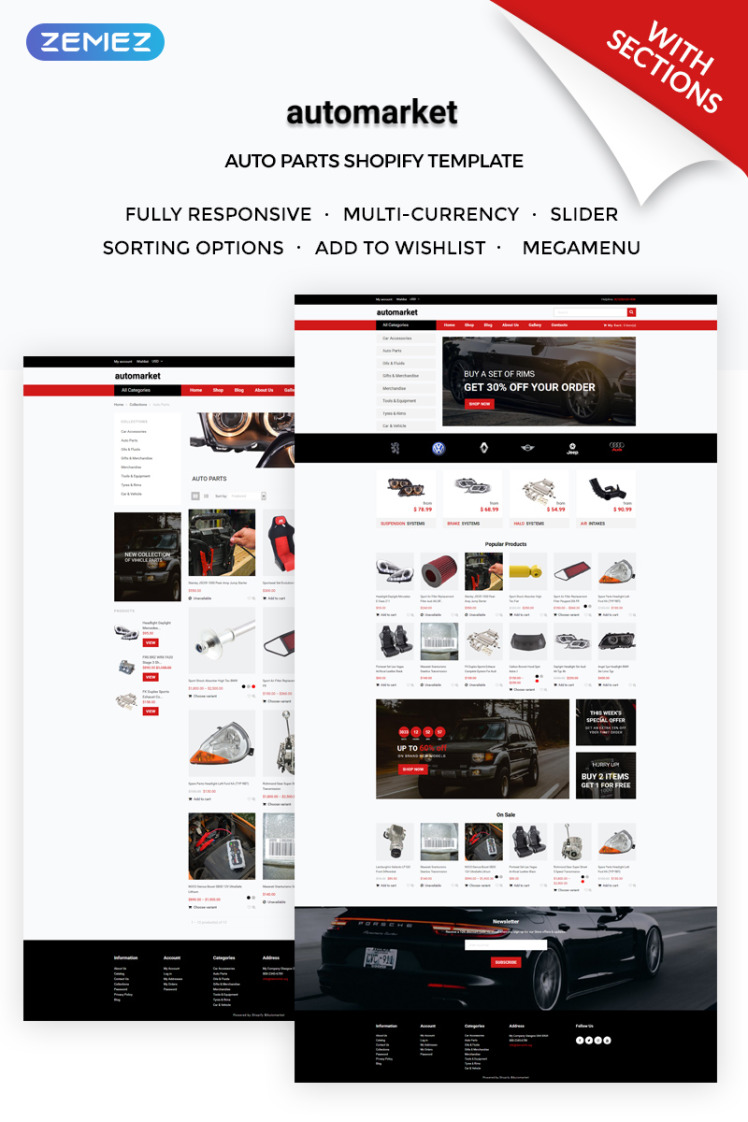 Automarket Strict Car Parts Online Store Shopify Themes