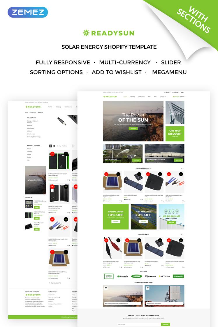 ReadySun Solar Energy Equipment Store Shopify Theme