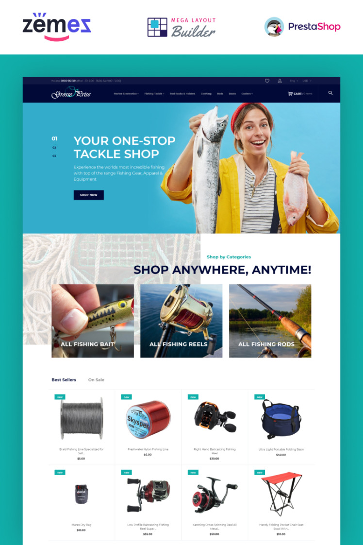 Grosse Prise Fishing Gear Store PrestaShop Themes