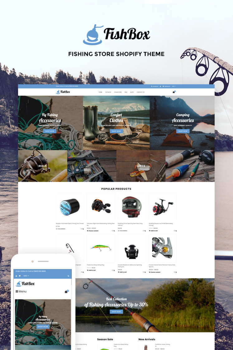 FishBox Attractive Fishing Hunting Store Shopify Themes