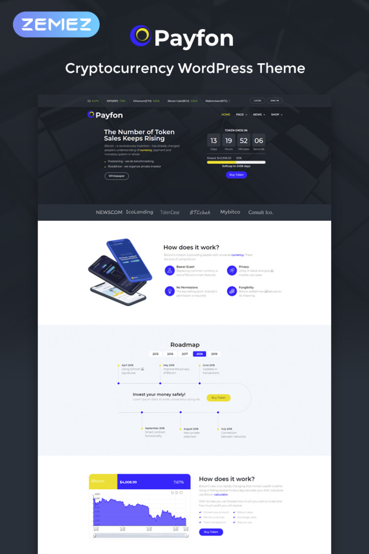 Payfone ICO WordPress Elementor Theme