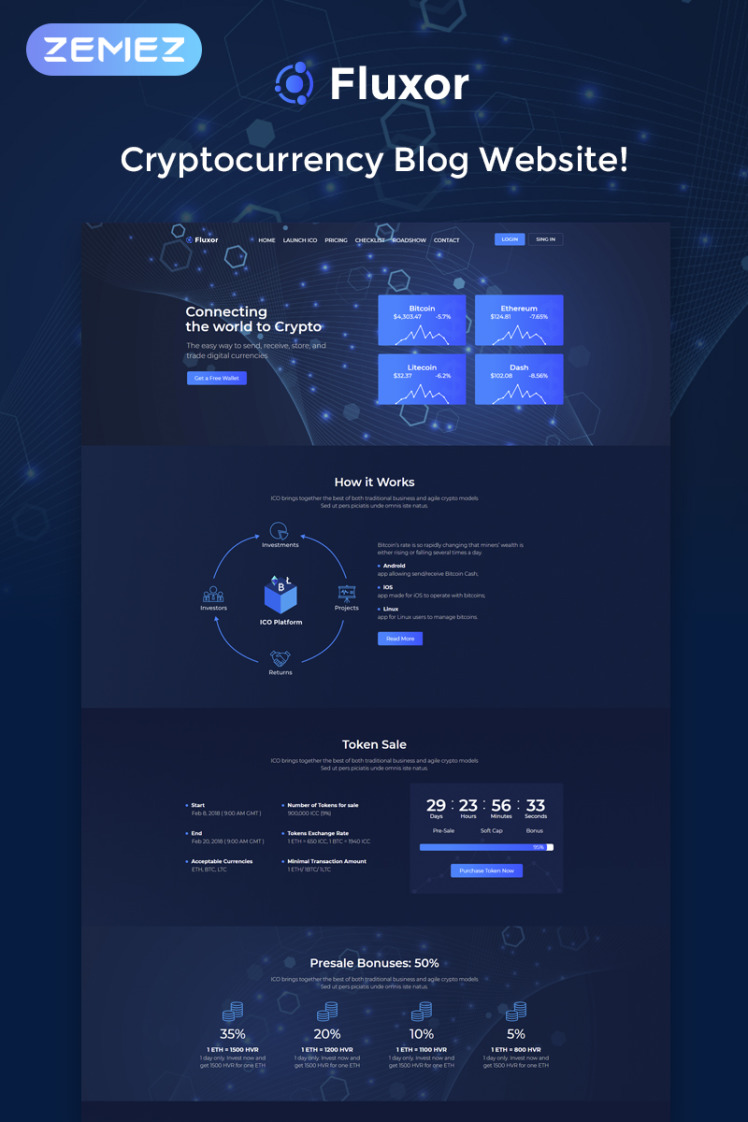Fluxor Crypcocurrency Investment Elementor WordPress Theme