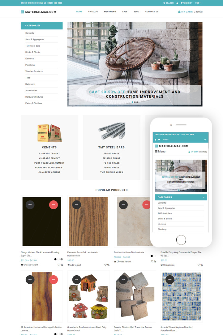 Materialmax Building Materials Responcive Clear Shopify Themes