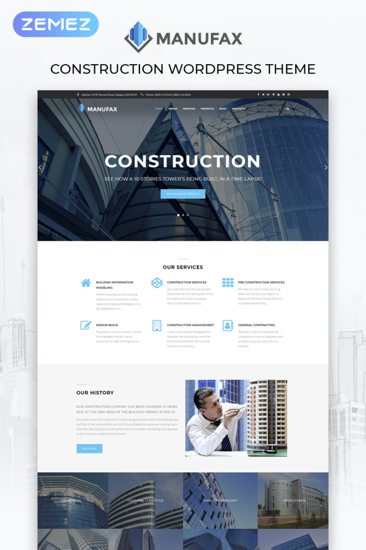 Manufax Construction Multipurpose Creative Elementor WordPress Theme