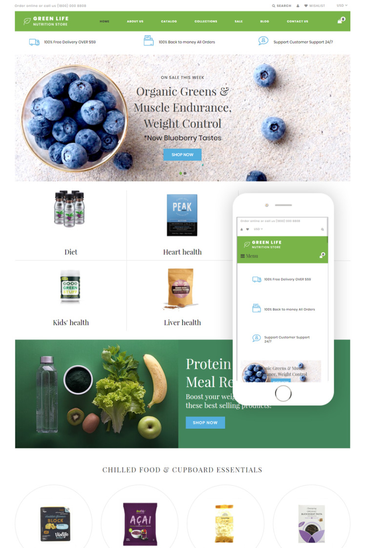 Green Life Nutrition Responsive Simple Shopify Themes