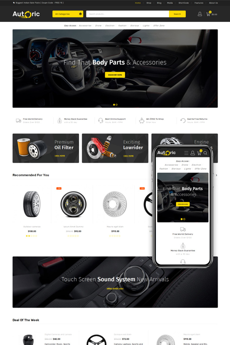 Autoric Spare Parts Store WooCommerce Themes