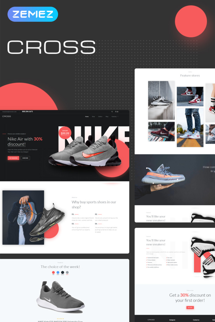 Cross Athletic Casual Shoes Store Elementor WooCommerce Theme