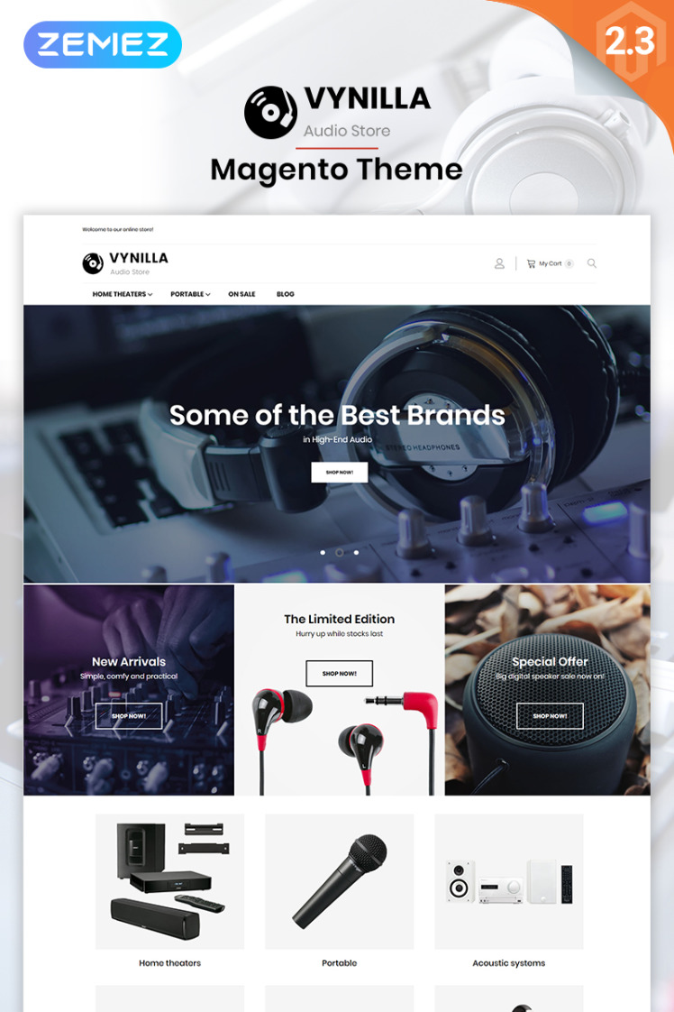 Vynilla AMP Audio Store Magento Themes