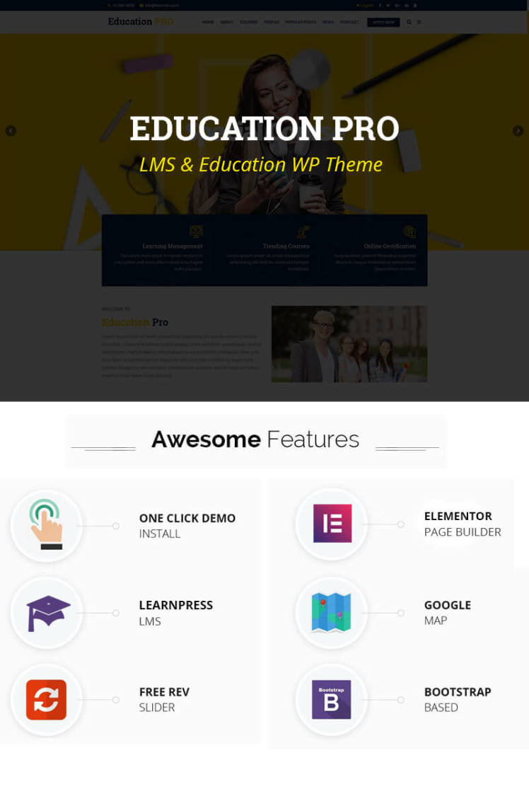 Education Pro Best Education and LMS Elementor WooCommerce WordPress Theme