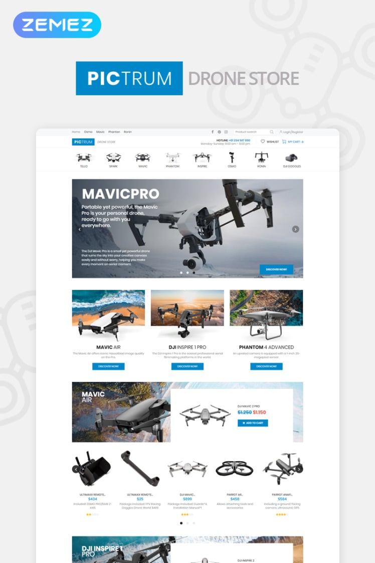 Pictrum Drone Store ECommerce Minimal Elementor WooCommerce Theme