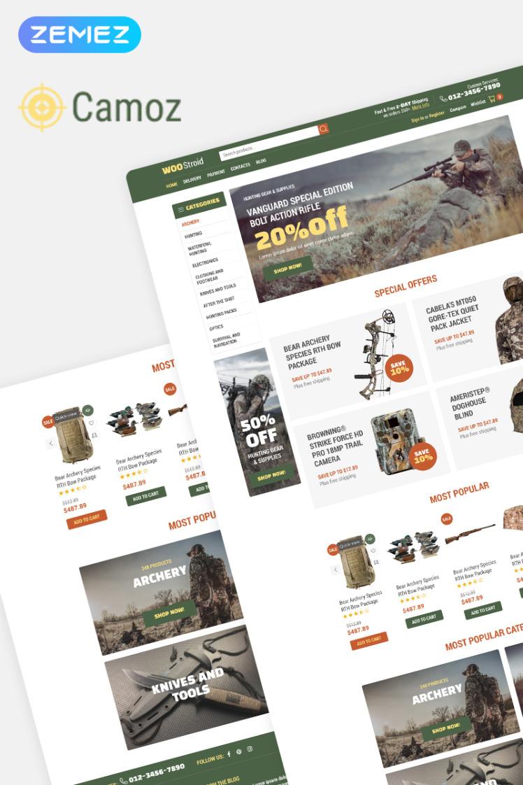 Camoz Hunting ECommerce Classic Elementor WooCommerce Theme