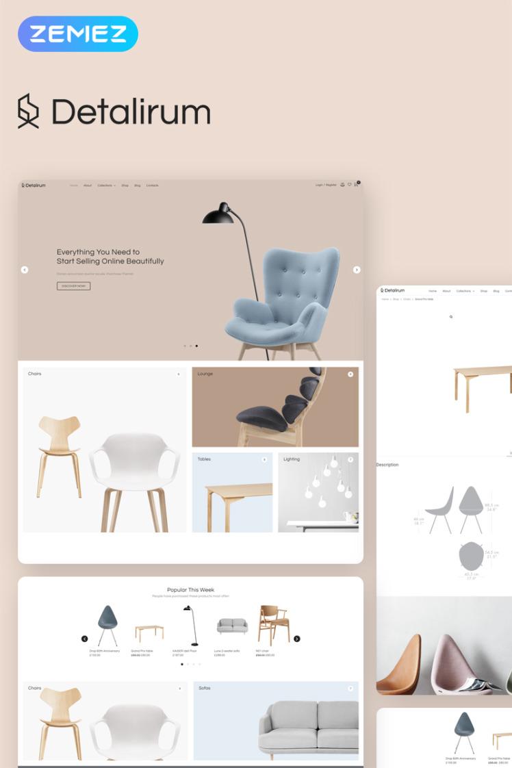 Detalirum Furniture Design ECommerce Minimal Elementor WooCommerce Theme